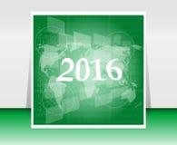 Światowa mapa na biznesowym cyfrowym dotyka ekranie, szczęśliwy nowego roku 2016 pojęcie Fotografia Stock