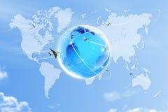 Światowa mapa na niebie zdjęcie stock