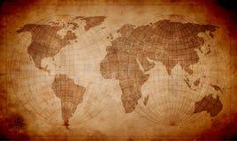 Światowa mapa na starym kawałku papieru royalty ilustracja