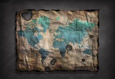 Światowa mapa na starym papierze ilustracja wektor