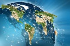 Światowa mapa na technologicznym tle najlepszego biznesowego pojęcia globalni internety Elementy ten wizerunek meblujący obok