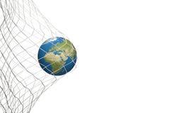 Światowa mapa nad piłki nożnej piłką w piłki nożnej sieci cel 3D-Illustration Obrazy Stock