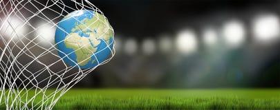 Światowa mapa nad piłki nożnej piłką w piłki nożnej sieci cel w stadium piłkarski Zdjęcia Stock