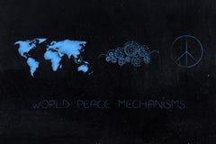 Światowa mapa obok gearwheel mechanizmu opracowywa pokoju symbol obraz royalty free