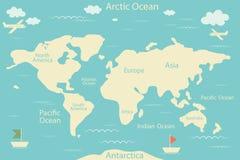 Światowa mapa odizolowywająca na błękitnym tle również zwrócić corel ilustracji wektora Układ infographic układ Płaski świat ziem Zdjęcia Stock