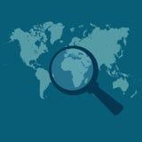 Światowa mapa, powiększająca, ilustracji