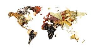Światowa mapa różne aromatyczne pikantność na białym tle zdjęcie royalty free