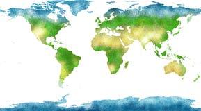 Światowa mapa, ręka rysująca, obrazkowi brushstrokes ilustracji