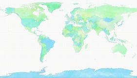 Światowa mapa, ręka rysująca z szczotkarskimi uderzeniami ilustracji