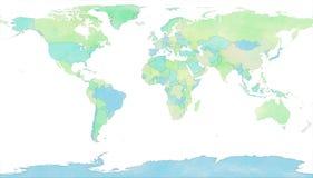 Światowa mapa, ręka rysująca z szczotkarskimi uderzeniami royalty ilustracja