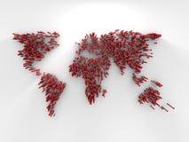 Światowa mapa robić czerwona kropka Zdjęcie Stock