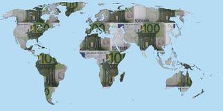 Światowa mapa Robić Euro banknoty Fotografia Royalty Free