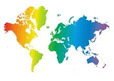Światowa mapa robić tęcza kolory royalty ilustracja