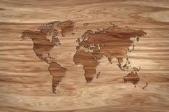 Światowa mapa rzeźbiąca w drewnie ilustracji
