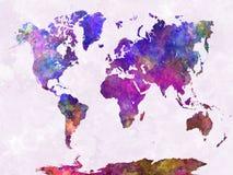 Światowa mapa w akwareli purpurach grże Fotografia Royalty Free