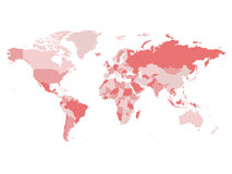 Światowa mapa w cztery cieniach menchie na białym tle Wysokiego szczegółu pusta polityczna mapa Wektorowa ilustracja z przylepiaj Zdjęcia Royalty Free