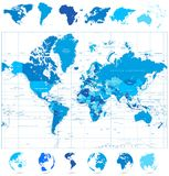 Światowa mapa w kolorach błękit i kontynenty Obraz Royalty Free