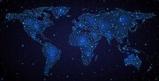 Światowa mapa w nocnym niebie royalty ilustracja