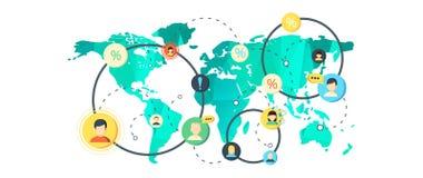 Światowa mapa w płaskim projekcie ilustracja wektor