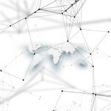 Światowa mapa w perspektywie z cieniem na bielu Abstrakcjonistyczni globalnej sieci związki, geometrycznego projekta technologii  Fotografia Royalty Free