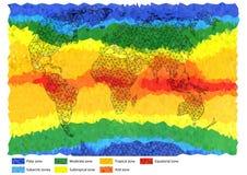 Światowa mapa w trójbokach barwiących Zdjęcia Stock