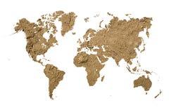 Światowa mapa z glinianą teksturą Obrazy Royalty Free