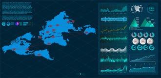 Światowa mapa z guzkami łączącymi liniami ilustracji