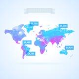 Światowa mapa z infographics elementami ilustracja wektor
