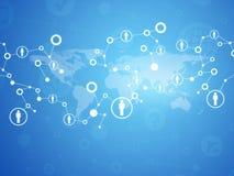 Światowa mapa z kontaktami Zdjęcia Royalty Free