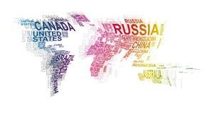 Światowa mapa z kraju imieniem ilustracja wektor