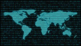 Światowa mapa z 01 lub binarne liczby na ekranie komputerowym na monitoru matrycowym tle, Cyfrowych dane kodzie w hackerze lub oc royalty ilustracja