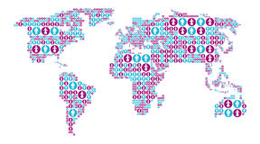 Światowa mapa z męskimi i żeńskimi ikonami Fotografia Stock