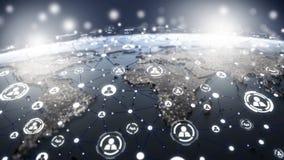 światowa mapa z ogólnospołeczną medialną siecią fotografia royalty free