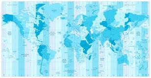 Światowa mapa z Standardowymi strefami czasowymi w kolorach błękit Obraz Stock