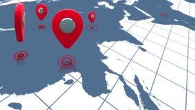 Światowa mapa zbliża wewnątrz czerwoni markiery ilustracji