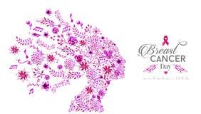 Światowa nowotwór piersi świadomości dnia akwareli kobieta royalty ilustracja