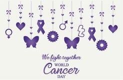 Światowa nowotworu dnia karta lub tło Fotografia Royalty Free