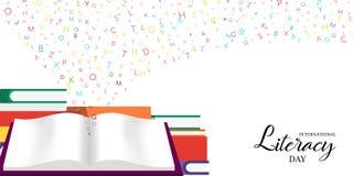 Światowa piśmienność dnia karta szkolne książki dla dzieciaków Zdjęcie Royalty Free