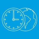 Światowa planeta z zegarek ikoną, konturu styl Zdjęcie Royalty Free