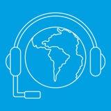 Światowa planety i słuchawki ikona, konturu styl Zdjęcie Royalty Free