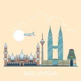 Światowa podróż w Malezja Liniowym Płaskim wektorowym projekcie