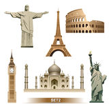 Światowa punkt zwrotny ikona ustawiająca, wektor/ Obraz Stock