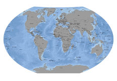 Światowa sfera z Stałych krajów - ocean tłem Zdjęcia Stock
