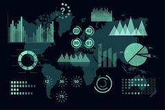 Światowe analityka infographic Set przejrzyści wykresy i mapy, deska rozdzielcza szablon Obraz Stock