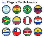 Światowe flaga 3 d formie wymiarowej Amerykę wspaniałą na południe ilustracyjni trzech bardzo Obrazy Stock