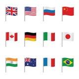 Światowe flaga kreskówki serc biegunowy setu wektor Fotografia Royalty Free