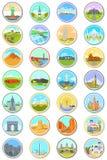 Światowe punkt zwrotny podróży ikony ilustracji
