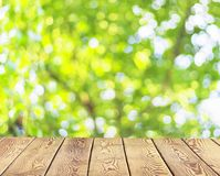 Światowego środowiska dnia pojęcie: Pusty drewniany stół nad zamazanym drzewem z bokeh tłem fotografia stock