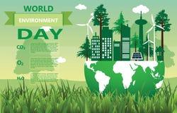 Światowego środowiska dzień, Eco natura, krajobraz z dżunglą, góra, las, drzewa ilustracja wektor