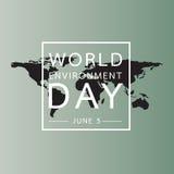 Światowego środowiska dzień z światowej mapy tłem Zdjęcia Stock